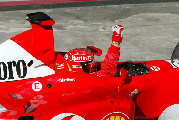 2002 Brazilian Grand Prix - Sunday RaceInterlagos, Sao Paulo. 31st March 2002Race winner Michael Schumacher, Ferrari F2002, punches his arm in the air, as he pulls into parc ferme.World Copyright - LAT Photographicref: 12 5mb Digital File Only
