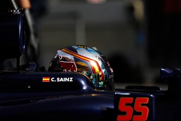 Circuit de Catalunya, Barcelona, Spain Monday 22 February 2016. Carlos Sainz Jr, Toro Rosso STR11 Ferrari, in the pit lane. World Copyright: Sam Bloxham/LAT Photographic ref: Digital Image _SBL4827