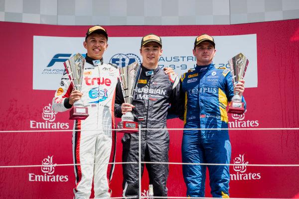 2017 FIA Formula 2 Round 5. Red Bull Ring, Spielberg, Austria. Sunday 9 July 2017. Alexander Albon (THA, ART Grand Prix), Artem Markelov (RUS, RUSSIAN TIME) and Oliver Rowland (GBR, DAMS).  Photo: Zak Mauger/FIA Formula 2. ref: Digital Image _54I0430