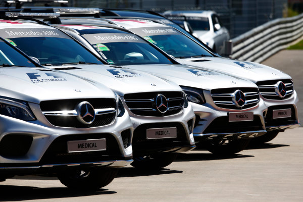 Red Bull Ring, Spielberg, Austria. Thursday 06 July 2017. A line-up of Mercedes medical and safety cars. World Copyright: Andy Hone/LAT Images ref: Digital Image _ONY9303