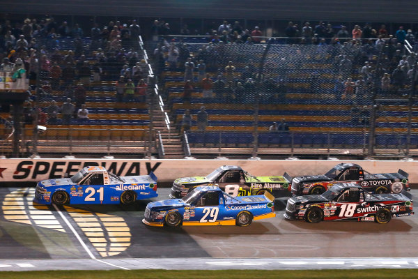 NASCAR Camping World Truck Series M&M?s 200 presented by Casey?s General Store Iowa Speedway, Newton, IA USA Friday 23 June 2017 Johnny Sauter, Allegiant Airlines Chevrolet Silverado, Chase Briscoe, Cooper Standard Ford F150, John Hunter Nemechek, Fire Alarm Services/Romco Equipment Co. Chevrolet Silverado, \Noah Gragson, Switch Toyota Tundra and Christopher Bell, Toyota Toyota Tundra World Copyright: Russell LaBounty LAT Images