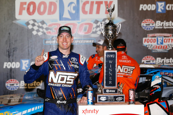 NASCAR XFINITY Series Food City 300 Bristol Motor Speedway, Bristol, TN USA Friday 18 August 2017 Kyle Busch, NOS Rowdy Toyota Camry, celebrates in victory lane. World Copyright: John K Harrelson LAT Images