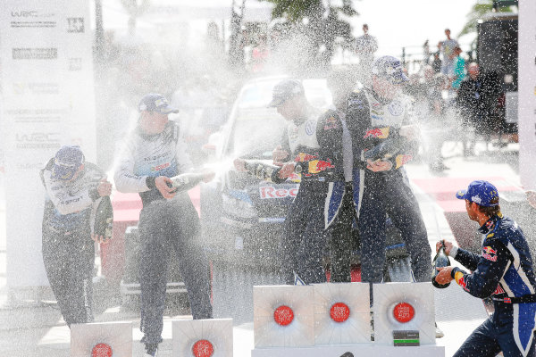2015 World Rally Championship Round 11, Tour de Corse  1st - 4th October, 2015 Jari-Matti Latvala, VW, Elfyn Evans, Ford, Andreas Mikkelsen, VW, podium  Worldwide Copyright: McKlein/LAT