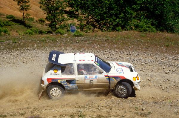 Acropolis Rally, Greece. 2nd - 4th June 1986.Juha Kankkunen/Juha Piironen (Peugeot 205 Turbo 16 E2), 1st position, action.World Copyright: LAT Photographic.Ref: 35mm transparency 86RALLY10.
