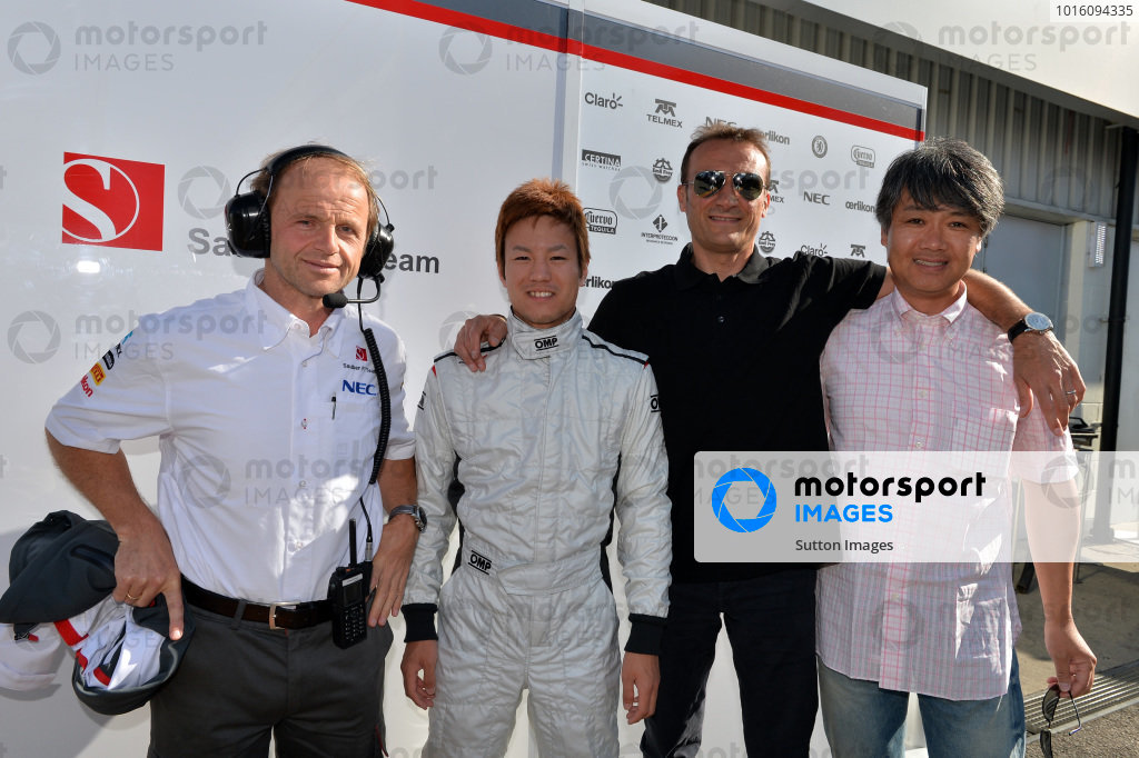 (L to R): Josef Leberer (SUI) Sauber Physio, Kimiya Sato (JPN) Sauber, Vincenzo Sospiri (ITA) and Taki Inoue (JPN). Formula One Young Drivers Test, Silverstone, England, Day Three, Friday 19 July 2013. 