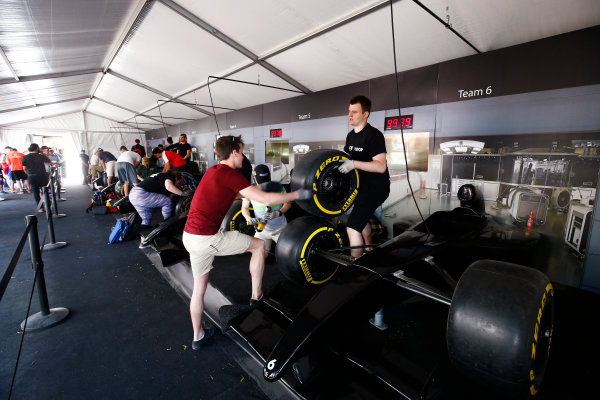 Circuit Gilles Villeneuve, Montreal, Canada. Sunday 11 June 2017. Fans experience a pit stop challenge. World Copyright: Andy Hone/LAT Images ref: Digital Image _ONZ4740