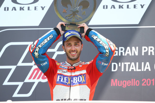 2017 MotoGP Championship - Round 6 Mugello, Italy Sunday 4 June 2017 Podium: Race winner Andrea Dovizioso, Ducati Team World Copyright: Gold & Goose Photography/LAT Images ref: Digital Image 674659