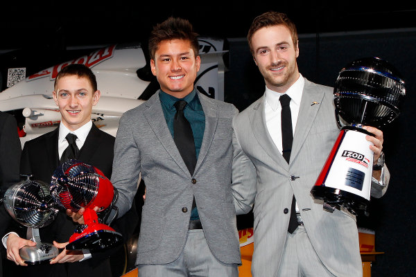 6 December, 2012, Indianapolis, Indiana, USA Zach Veach, Sebastian Saavedra and James Hinchcliffe with fan award.(c) 2012, Michael L. Levitt LAT Photo USA
