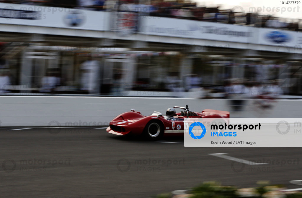 2014 Goodwood Revival Meeting  Goodwood Estate, West Sussex, England. 12th - 14th September 2014.  Whitsun Trophy. Chris Goodwin, McLaren Chevrolet M1B, 1st position.  Ref: _W5_4423a. World copyright: Kevin Wood/LAT Photographic