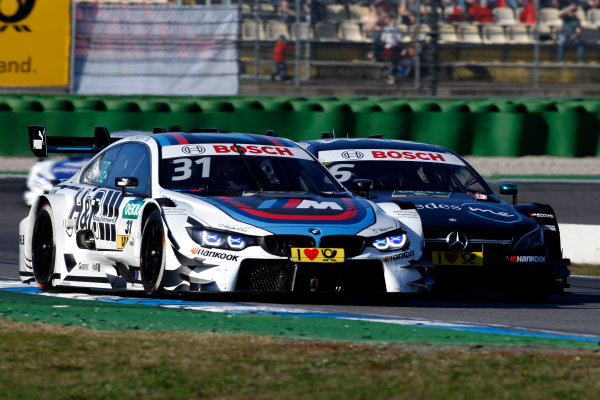 2017 DTM Round 9  Hockenheimring, Germany  Sunday 15 October 2017. Tom Blomqvist, BMW Team RBM, BMW M4 DTM, Robert Wickens, Mercedes-AMG Team HWA, Mercedes-AMG C63 DTM  World Copyright: Alexander Trienitz/LAT Images ref: Digital Image 2017-DTM-HH2-AT3-2301
