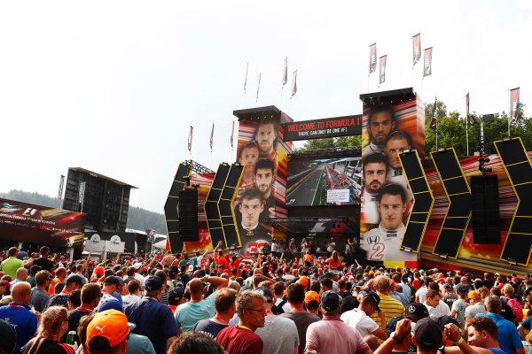 Spa Francorchamps, Belgium.  Saturday 26 August 2017. Stoffel Vandoorne, McLaren, on the F1 Fanzone stage. World Copyright: Sam Bloxham/LAT Images  ref: Digital Image _W6I0846