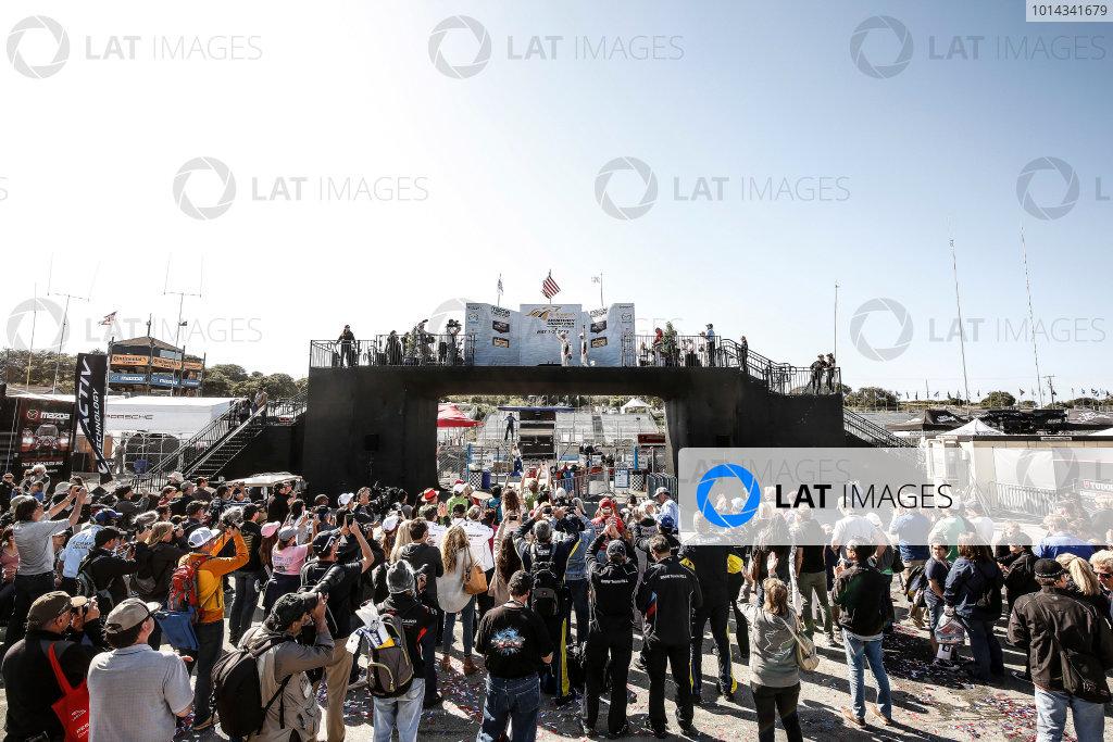 1-3 May, 2015, Monterey, California, USA GTLM class podium with fans, 24, BMW, Z4 GTE, GTLM, John Edwards, Lucas Luhr ©2015, Michael L. Levitt LAT Photo USA