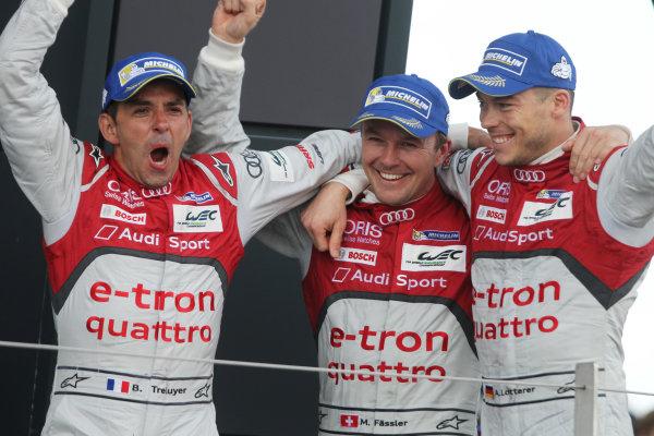 2015 FIA World Endurance Championship, Silverstone, England. 10th-12th April 2015 Marcel Fassler (CHE) / Andre Lotterer (DEU) / Benoit Treluyer (FRA) Audi R18 e-tron quattro World copyright. Ebrey/LAT Photographic