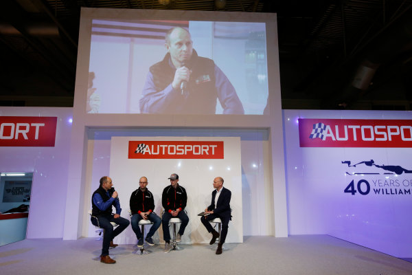 Autosport International Exhibition. National Exhibition Centre, Birmingham, UK. Thursday 12 January 2017. Ben Taylor, Elfyn Evans and co-driver Ben Taylor join Toby Moody on the Autosport Stage. World Copyright: Sam Bloxham/LAT Photographic. Ref: _SLB4361