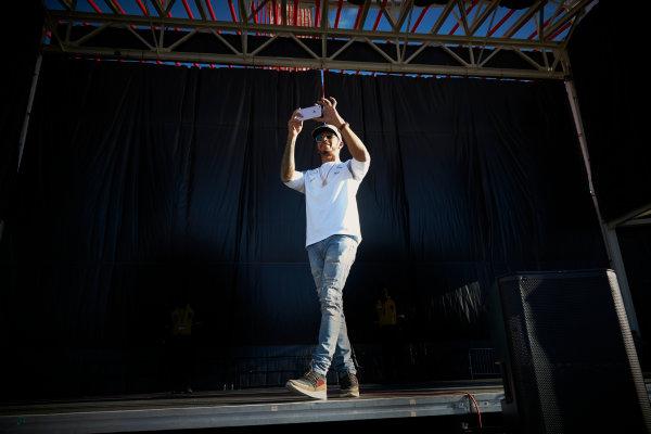 Circuit of the Americas, Austin Texas, USA. Saturday 22 October 2016. Lewis Hamilton, Mercedes AMG, on stage. World Copyright: Steve Etherington/LAT Photographic ref: Digital Image SNE29783