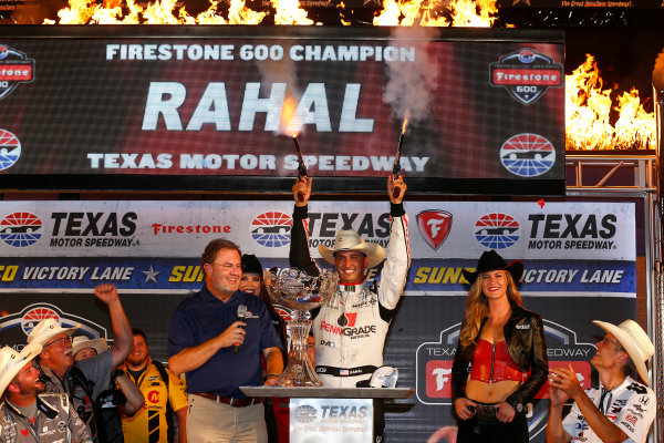 10-11 June, 2016, Fort Worth, Texas USA Graham Rahal celebrates in victory lane with the traditional six-shooters ?2016, Phillip Abbott LAT Photo USA
