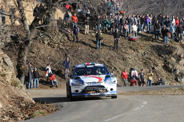 Francois Delecour (FRA), Ford Fiesta RS WRC, on stage 3. FIA World Rally Championship, Rd1, Rallye Monte-Carlo, Monaco, Day One, Wednesday 18 January 2012.