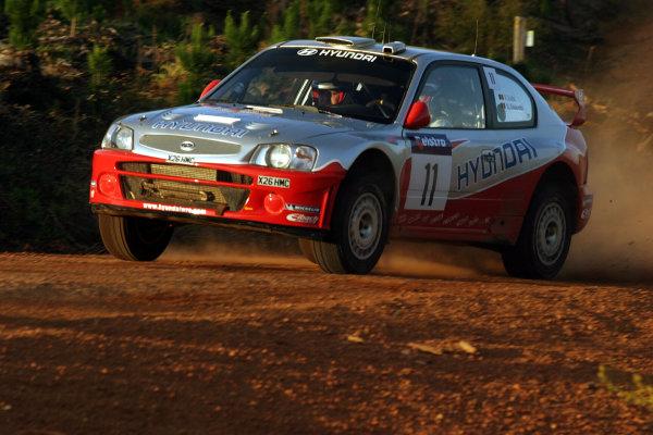 2003 FIA World Rally Champs. Round Ten Telstra Rally Australia 4th-7th September 2003.CFreddy Loix, Hyundai, Action. World Copyright: McKlein/LAT