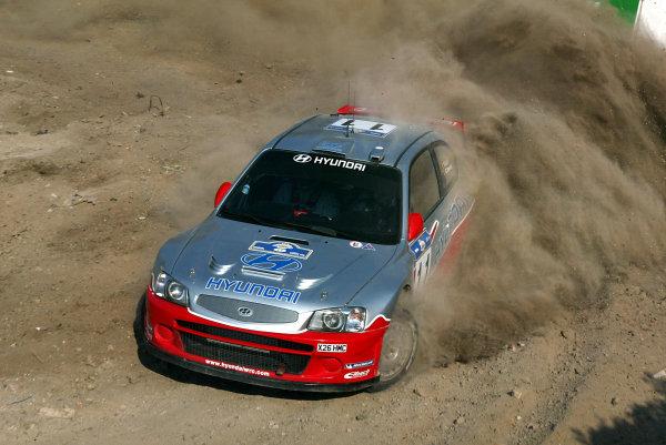 Freddy Loix,Hyundai Accent WRC, Acropolis Rally 2003.Photo: McKlein/LAT