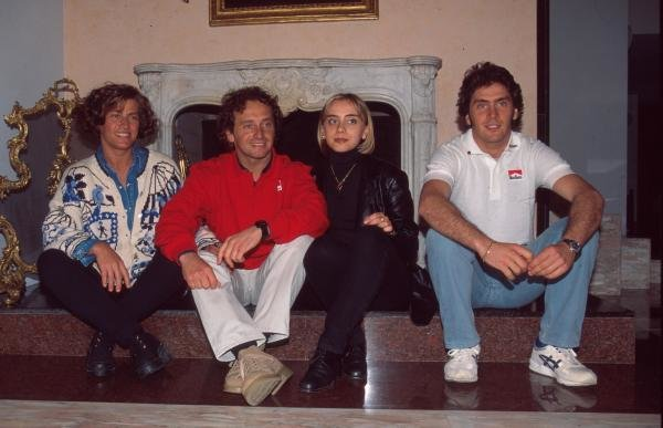 Pier Luigi Martini at home with his wife Sandra (L), and brother Oliver and his wife (R) in Lavezzola, Italy.Formula One Drivers At Home