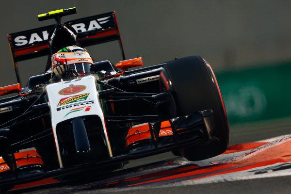 Yas Marina Circuit, Abu Dhabi, United Arab Emirates. Saturday 22 November 2014. Sergio Perez, Force India VJM07 Mercedes. World Copyright: Andy Hone/LAT Photographic. ref: Digital Image _ONZ1304