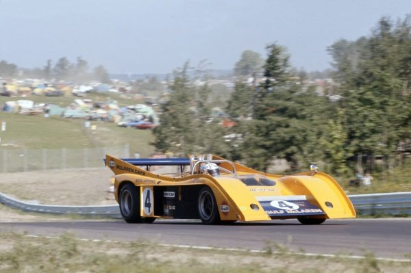 1972 Can-Am Challenge Cup.CanAm race. Watkins Glen, New York State, United States (USA). 23 July 1972.Peter Revson (McLaren M20-Chevrolet), 2nd position.World Copyright: LAT PhotographicRef: 35mm transparency 72CANAM04