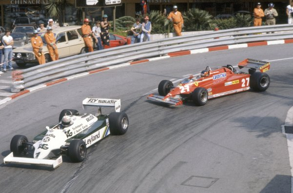 1981 Monaco Grand Prix.Monte Carlo, Monaco. 28-31 May 1981.Alan Jones (Williams FW07C-Ford Cosworth) leads Gilles Villeneuve (Ferrari 126CK). They finished in 2nd and 1st position respectively.World Copyright: LAT PhotographicRef: 35mm transparency 81MON52