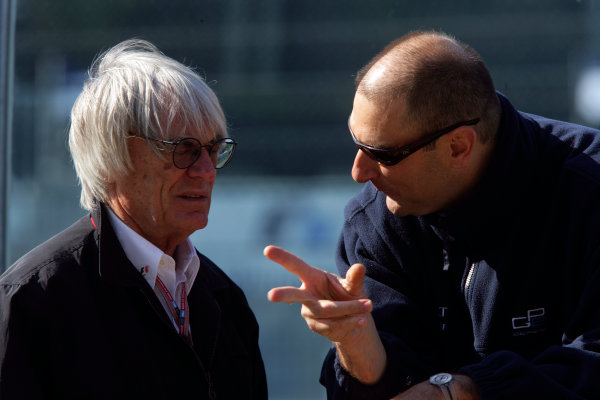 2005 GP2 Series - ImolaAutodromo Enzo e Dino Ferrari, Italy. 21st - 24th April.Friday PracticeBernie Ecclestone talks with Bruno Michel (GP2 Series Organiser) on the pit wall. Portrait.Photo: GP2 Series Media Serviceref: Digital Image Only.