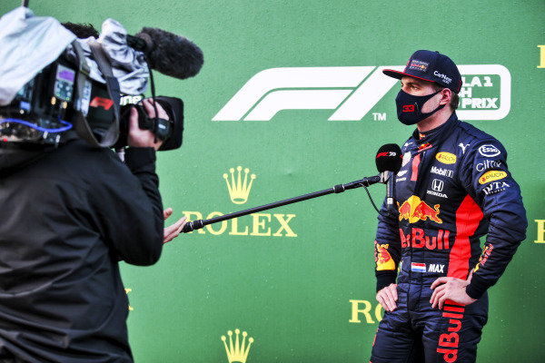 Max Verstappen, Red Bull Racing speaks to the media in Parc Ferme