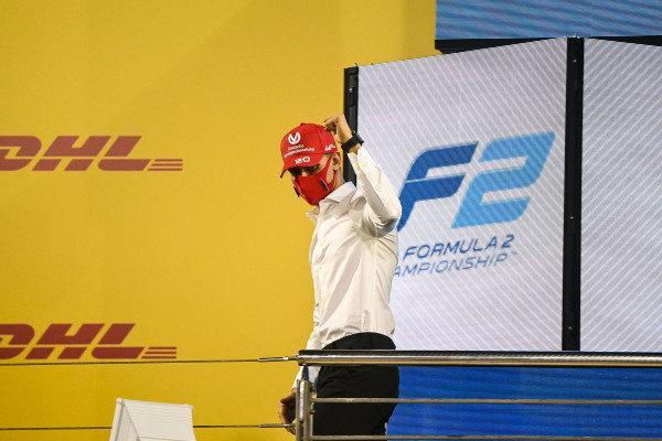F2 Championship 1st position Mick Schumacher (DEU, PREMA RACING) celebrates on the podium