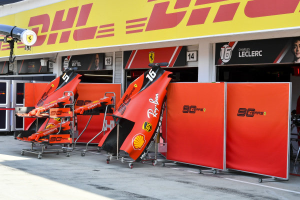 Engine cover and front wing of Ferrari SF90