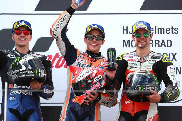 Podium: race winner Marc Marquez, Repsol Honda Team, second place Maverick Vinales, Yamaha Factory Racing, third place Cal Crutchlow, Team LCR Honda.