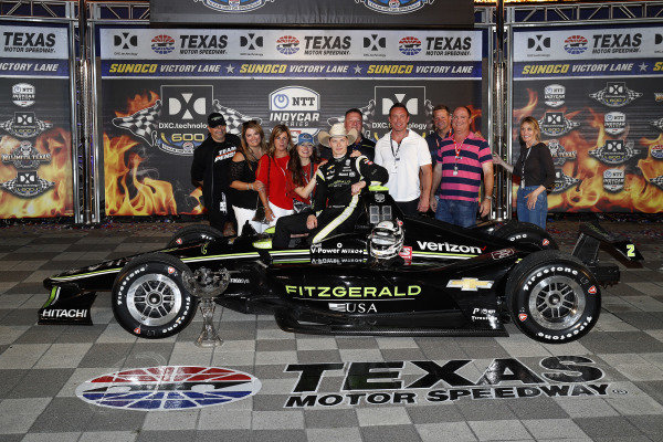 Josef Newgarden, Team Penske Chevrolet celebrates with  friends and family in victory lane