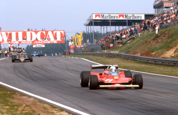 1979 Belgian Grand Prix.Zolder, Belgium.11-13 May 1979.Jody Scheckter (Ferrari 312T4) 1st position, with Carlos Reutemann (Lotus 79 Ford) behind. Ref-79 BEL 01.World Copyright - LAT Photographic