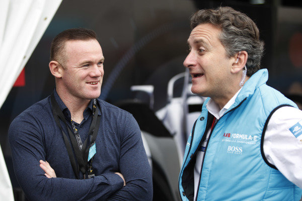 Footballer Wayne Rooney with Alejandro Agag, CEO, Formula E