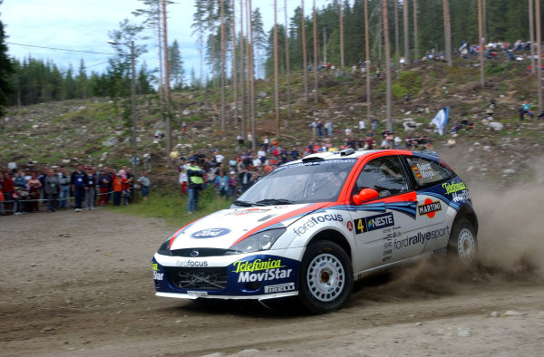2002 World Rally Championship.Neste Rally Finland, Jyvaskyla Finland, August 8-11th.Carlos Sainz during shakedown.Photo: Ralph Hardwick/LAT