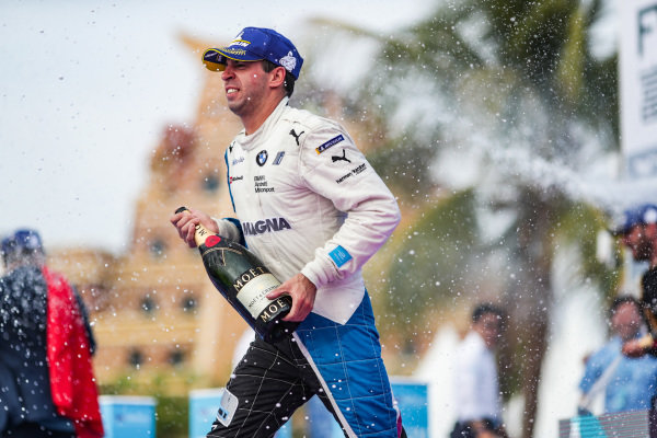 Antonio Felix da Costa (PRT), BMW I Andretti Motorsports, 3rd position, celebrates on the podium