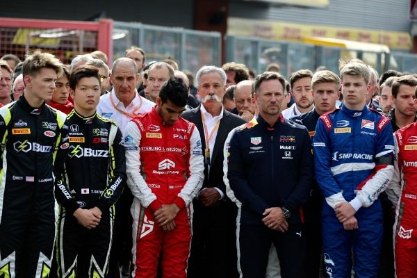Logan Sargeant (USA) Carlin Buzz Racing, Teppei Natori (JPN) Carlin Buzz Racing, Jehan Daruvala (IND) PREMA Racing, Christian Horner, Team Principal, Red Bull Racing and Chase Carey, Chairman, Formula 1 at the memorial of Anthoine Hubert (FRA, BWT ARDEN).