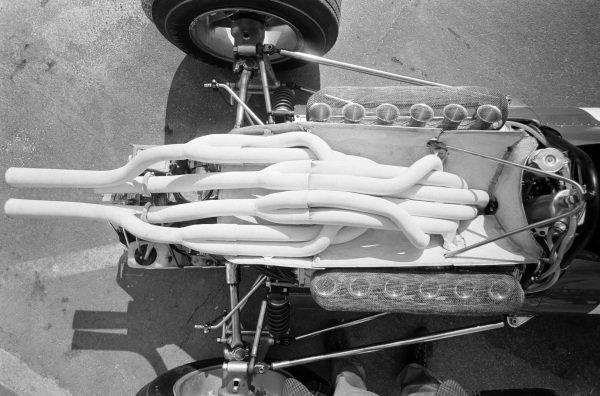 Exhaust and engine of Chris Amon's Ferrari 312.