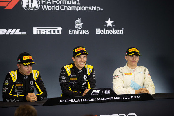HUNGARORING, HUNGARY - AUGUST 03: Christian Lundgaard (DNK, ART Grand Prix) Max Fewtrell (GBR, ART Grand Prix) and Jake Hughes (GBR, HWA RACELAB) during the Hungaroring at Hungaroring on August 03, 2019 in Hungaroring, Hungary. (Photo by Joe Portlock / LAT Images / FIA F3 Championship)