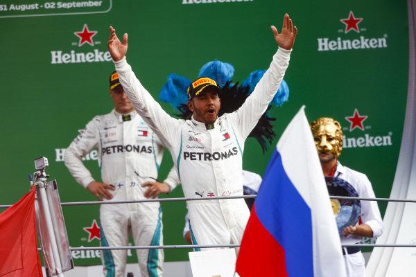 Lewis Hamilton, Mercedes AMG F1, 1st position, celebrates on the podium.