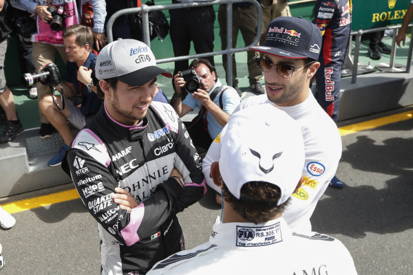 Sergio Perez (MEX) Force India and Daniel Ricciardo (AUS) Red Bull Racing at Formula One World Championship, Rd1, Australian Grand Prix, Race, Albert Park, Melbourne, Australia, Sunday 26 March 2017.