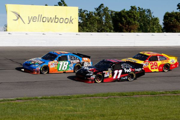 4-6 June, 2010, Long Pond, Pennsylvania USAKyle Busch, Denny Hamlin and Kevin Harvick battle in late race action©2010, Dan Streck, USALAT Photographic