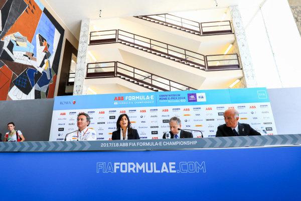 Alejandro Agag, CEO, Formula E, Virginia Elena Raggi, Mayor of Rome, Jean Todt, FIA President and Angelo Sticchi Damiani, President of ACI, in the press conference.
