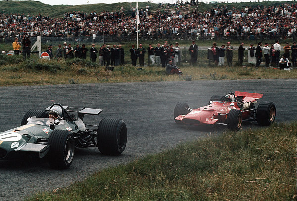 Zandvoort, Holland.19-21 June 1969.Jack Brabham (Brabham BT26A Ford) leads Chris Amon (Ferrari 312). They finished in 6th and 3rd positions respectively.Ref-35mm 69 HOL 25.World Copyright - LAT Photographic