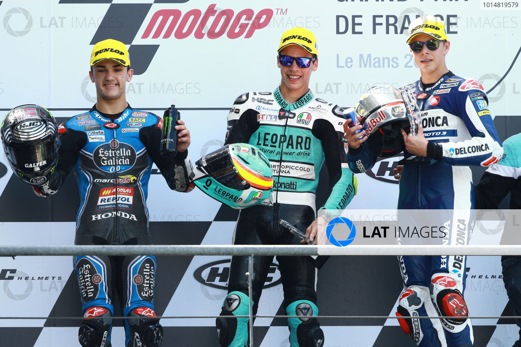 2017 Moto3 Championship - Round 5 Le Mans, France Sunday 21 May 2017 Podium: second place Aron Canet, Estrella Galicia 0,0, winner Joan Mir, Leopard Racing, third place Fabio Di Giannantonio, Del Conca Gresini Racing World Copyright: Gold & Goose Photography/LAT Images ref: Digital Image 671650