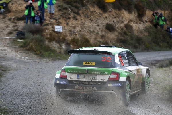 Kalle Rovanpera, Skoda Motorsport, Skoda Fabia R5, the fastest WRC2 driver on Saturday of Rally Catalunya, Spain.