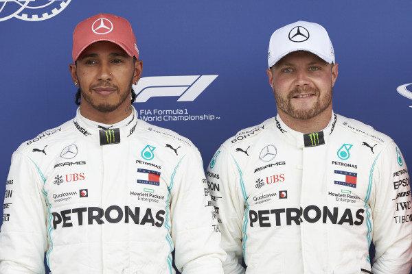 Front row starters Lewis Hamilton, Mercedes AMG F1, and pole man Valtteri Bottas, Mercedes AMG F1