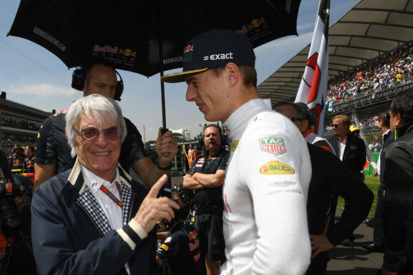 Bernie Ecclestone (GBR) CEO Formula One Group (FOM) and Max Verstappen (NED) Red Bull Racing on the grid at Formula One World Championship, Rd19, Mexican Grand Prix, Race, Circuit Hermanos Rodriguez, Mexico City, Mexico, Sunday 30 October 2016.