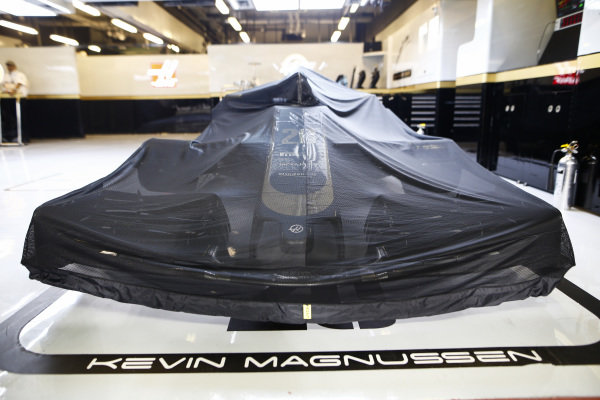 The car of Kevin Magnussen, Haas VF-19, under Parc Ferme conditions
